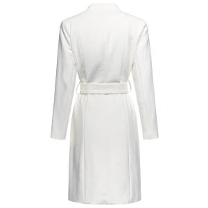Stand Neck Belted Woolen Coat - OFF-WHITE S