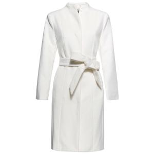 Stand Neck Belted Woolen Coat - Off-white - S
