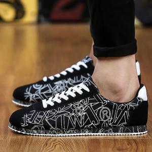 Letter Pattern Tie Up Casual Shoes - BLACK 43