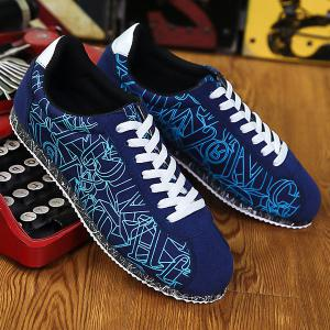 Letter Pattern Tie Up Casual Shoes -