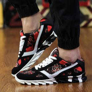 Colour Spliced Print Tie Up Athletic Shoes - RED/BLACK 43