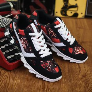 Colour Spliced Print Tie Up Athletic Shoes - RED WITH BLACK 44