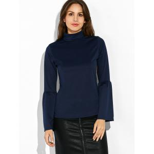 Flare Sleeves Turtleneck T-Shirt -