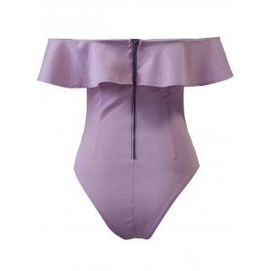 High Cut Off The Shoulder Bodysuit With Frill - PURPLE L
