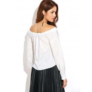 Button Up Off Shoulder Cotton Blouse -