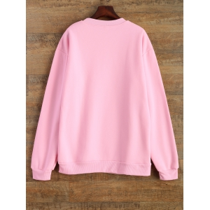 Jewel Neck Letter Pattern Sweatshirt - PINK XL