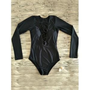 Plunge Neck Lace Up One Piece Rashguard -