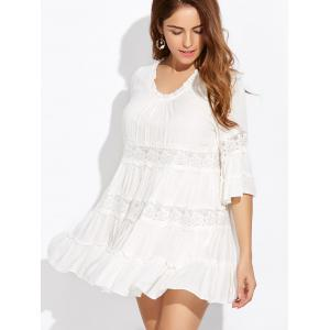 Lace Trim Tiered Tunic Dress -