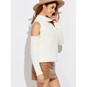 Funnel Neck Cold Shoulder Sweater -