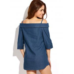 Off Shoulder Mini Chambray Button Up Jean Tunic Dress - BLUE 2XL