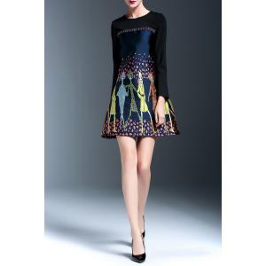 Embroidered Panel A Line Dress - FLORAL L