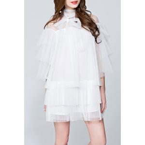 Mesh Pleated See Through Tiered Dress