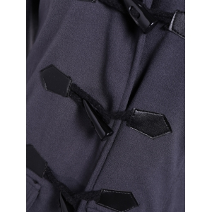 Hooded Flap Pockets Duffle Coat - GRAY M