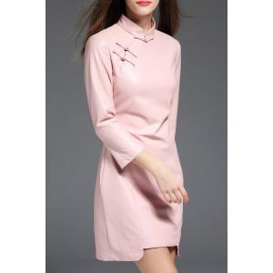 PU Leather Mandarin Collar Mini Dress - PINK M
