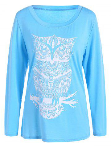 Owl Pattern Scoop Neck Tee - Azure - M