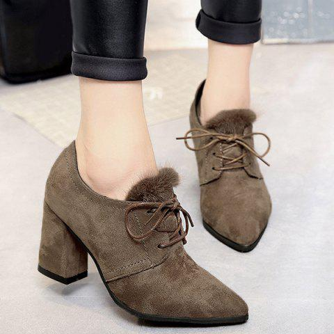 Buy Lace Up Faux Fur Pumps CAMEL 39