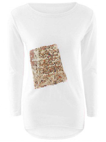 New Sequined High Low T-Shirt