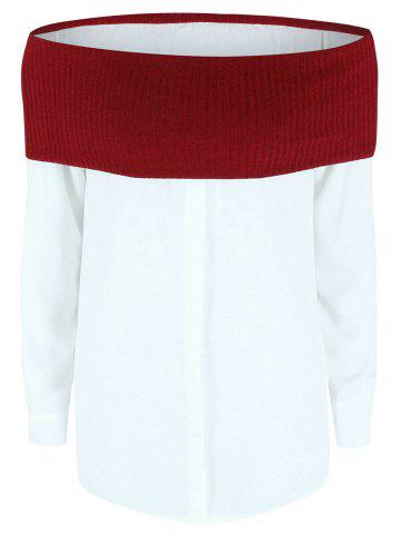 Off The Shoulder Color Block Splicing Blouse - WINE RED XL