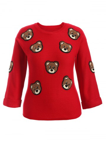 Bear Patched Plus Size Pullover Sweater - Red - 2xl