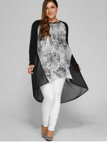 Discount Plus Size Abstract Print High Low Blouse