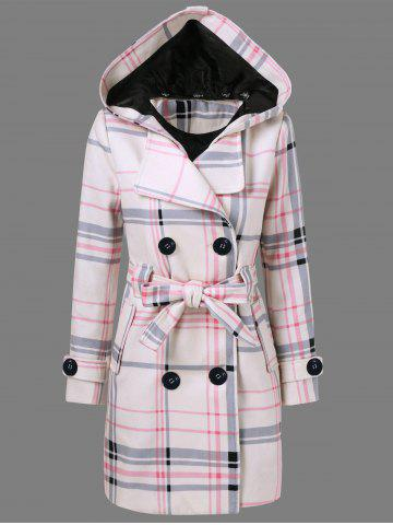 Buy Tie Belt Hooded Plaid Woolen Coat - XL CHECKED Mobile