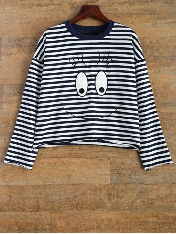 Best Cartoon Striped T-Shirt WHITE AND BLACK 2XL