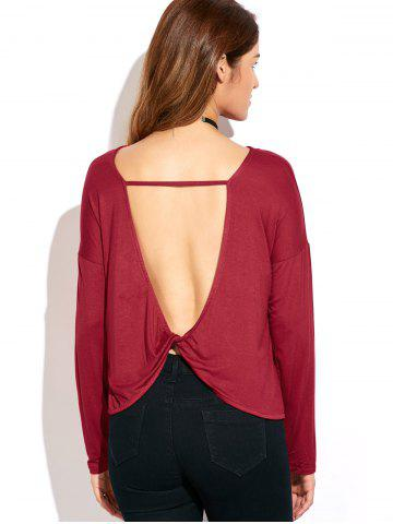 Trendy Twisted Open Back T-Shirt RED 2XL