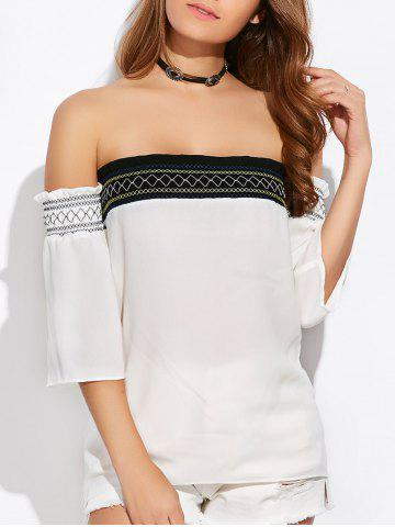 Outfits Off Shoulder Tube Blouse WHITE XL