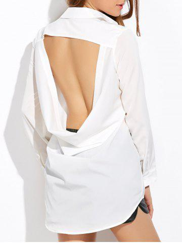 Sale Long Sleeve Belted High Low Cut Out Shirt WHITE 2XL