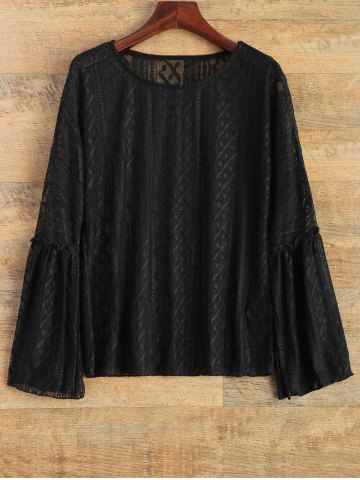 Shop Bell Sleeve See-Through Lace Top BLACK 2XL