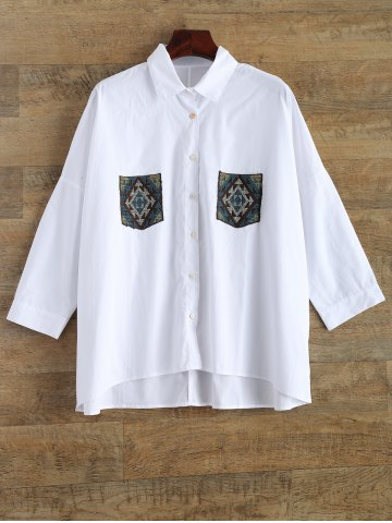 Fancy Oversized Embroidery Pocket Shirt