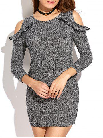 Trendy Cold Shoulder Bodycon Sweater Dress