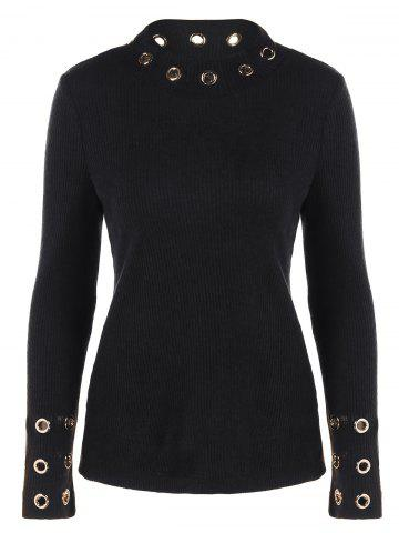 Trendy Ribbed Knitwear with Eyelet Embellished BLACK XL