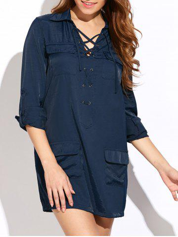Chic Lace-Up Loose Pockets Dress BLUE 2XL