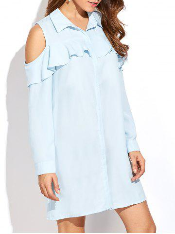 Latest Cold Shoulder Shirt Tunic Dress With Frill LIGHT BLUE 2XL