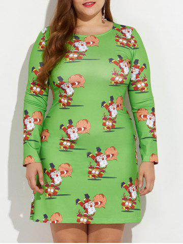 Fashion Christmas Plus Size Santa and Reindeer Print Dress GREEN 5XL