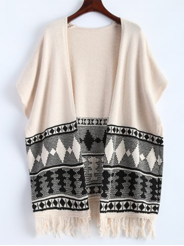 Latest Batwing Sleeve Fringe Graphic Open Cardigan