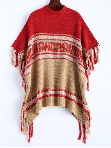 Affordable Asymmetrical Fringe Poncho Sweater RED ONE SIZE