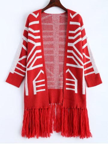 Fancy Fringe Graphic Open Long Cardigan RED ONE SIZE