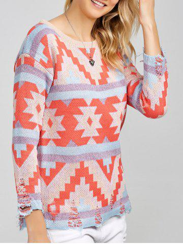 Colorful Geometrical Pullover Sweater - COLORMIX ONE SIZE