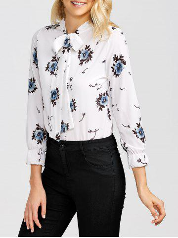 Affordable Bow Tie Collar Floral Blouse
