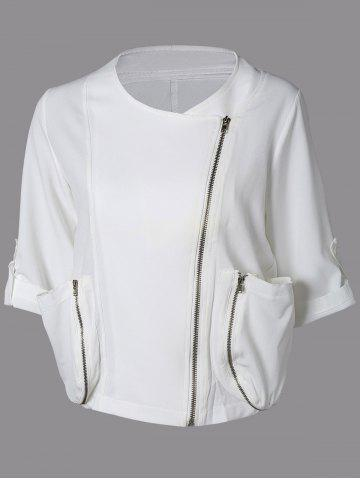 Fancy Zip Up Loose Cropped Blouse