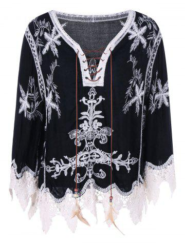 Cheap Bohemian Style Lace Embroidery Blouse