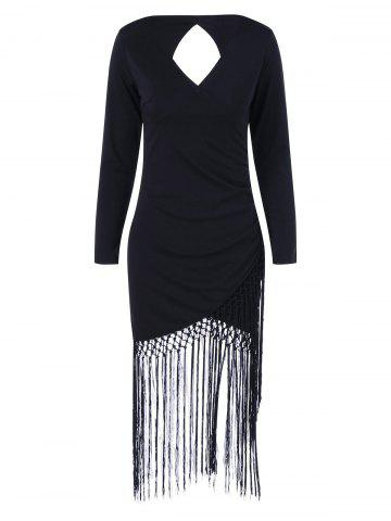 New Long Sleeve Fringe Cut Out Bodycon Flapper Dress BLACK XL