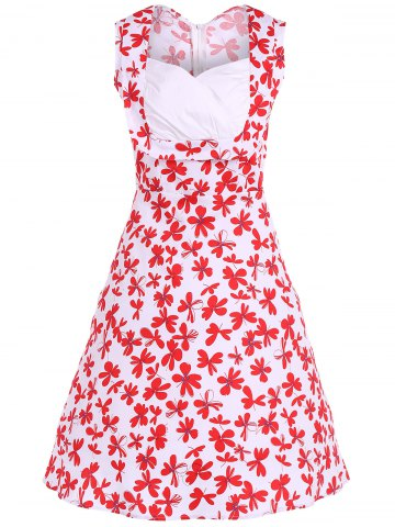 Affordable Patterned Midi Vintage Dress RED AND WHITE 4XL