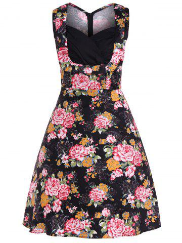 Outfits Floral Midi Retro Dress BLACK 4XL