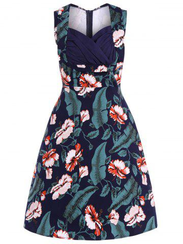 Shops Floral Print Midi Retro Dress