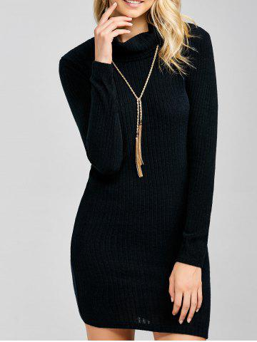 Ribbed Mini Cowl Neck Fitted Sweater Dress - Black - S