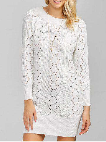 Raglan Sleeve Crew Neck Knitted Jumper Dress - White - One Size