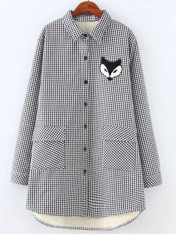 Latest Plus Size Plaid Fox Appliques Fleece Shirt WHITE 4XL